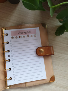 LV-inspired Shopping List Blush Planner Refill for Kikki.K Kate Spade Filofax and other Planners