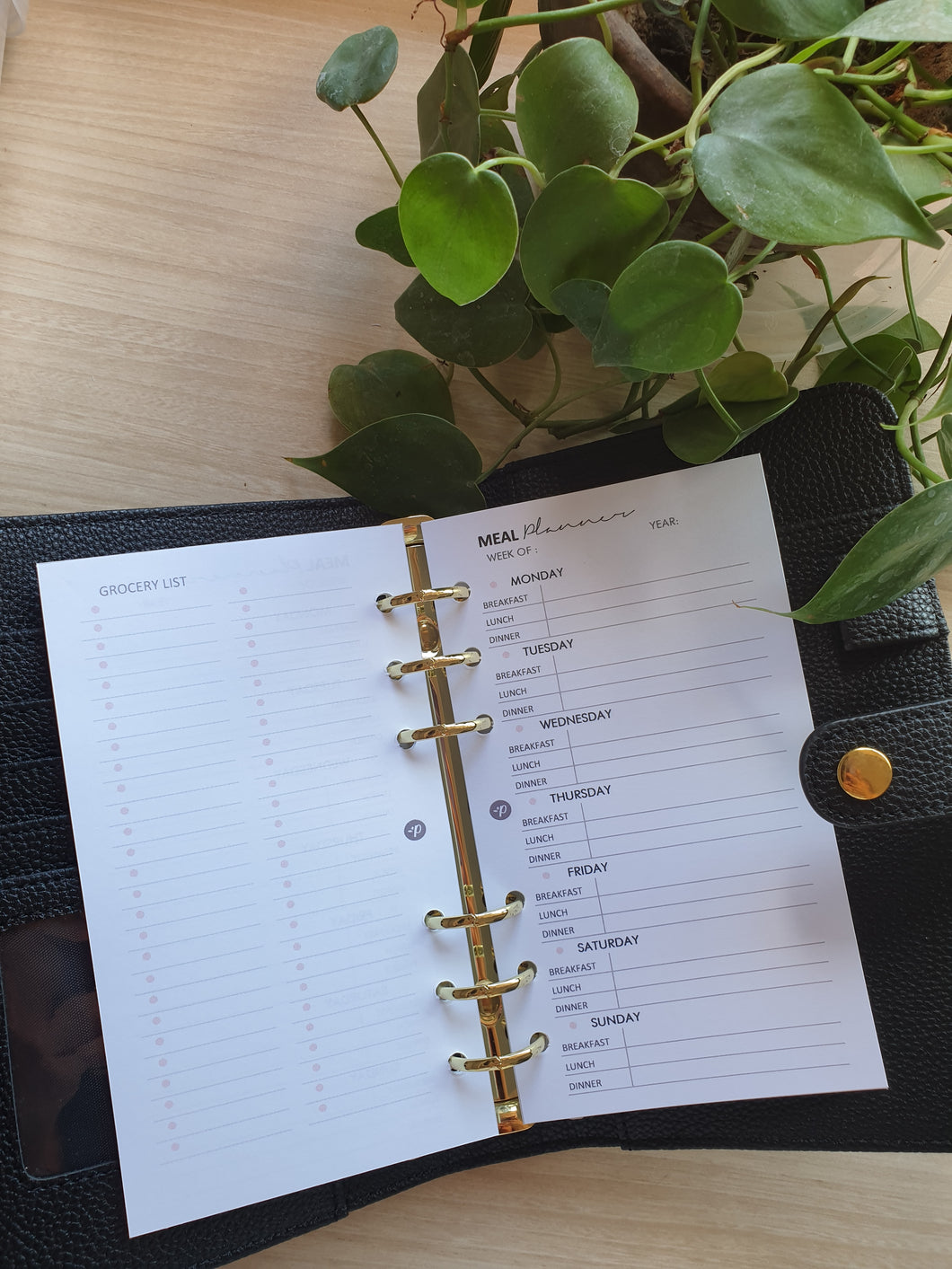 Meal Planner + Grocery List Blush Planner Refill for Kikki.K Kate Spade Filofax and other Planners