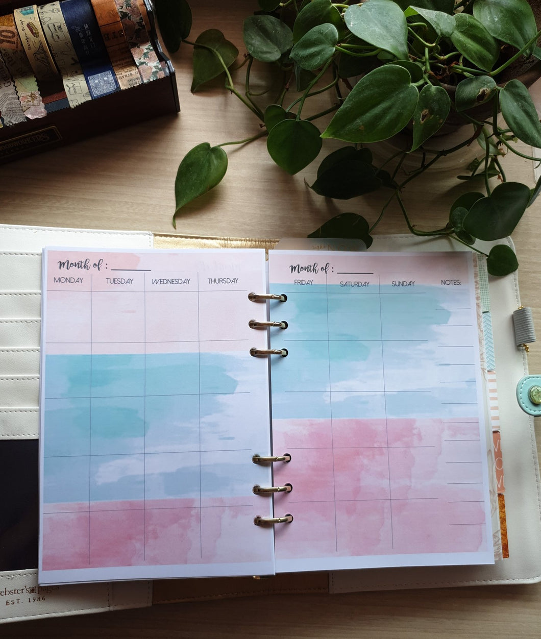 Monthly Planner Watercolor Tulips Refill for Kikki.K Kate Spade Filofax and other Planners