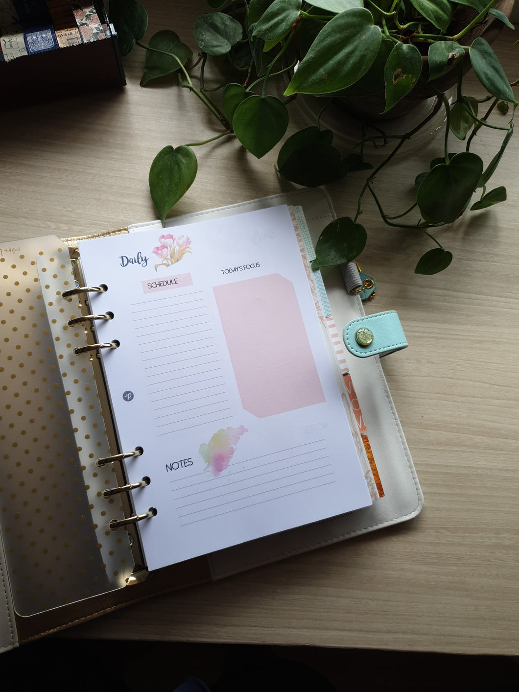 Daily Watercolor Tulips Planner Refill for Kikki.K Kate Spade Filofax and other Planners