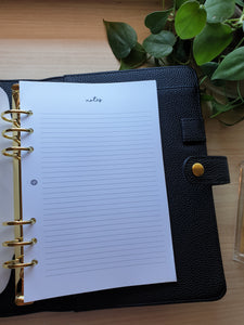 Notes Minimalist Planner Refill for Kikki.K Kate Spade Filofax and other Planners