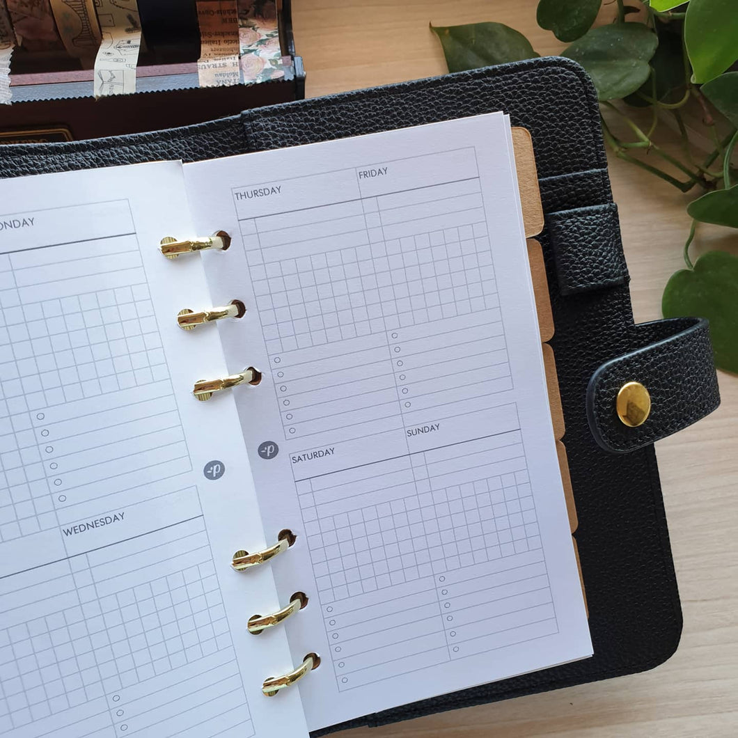Week on 2 Pages Grid Planner Refill for Moterm Gillio LV Kikki.K Kate Spade Filofax and other Planners