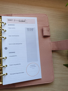 Blush Gray Daily Gratitude Planner Refill for Kikki.K Kate Spade Filofax and other Planners