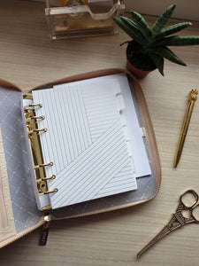 kikki.K B6 Croc Jet Black and Almond Zip Planner