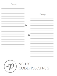 Blush Gray Minimalist Notes Planner Refill for Kikki.K Kate Spade Filofax and other Planners