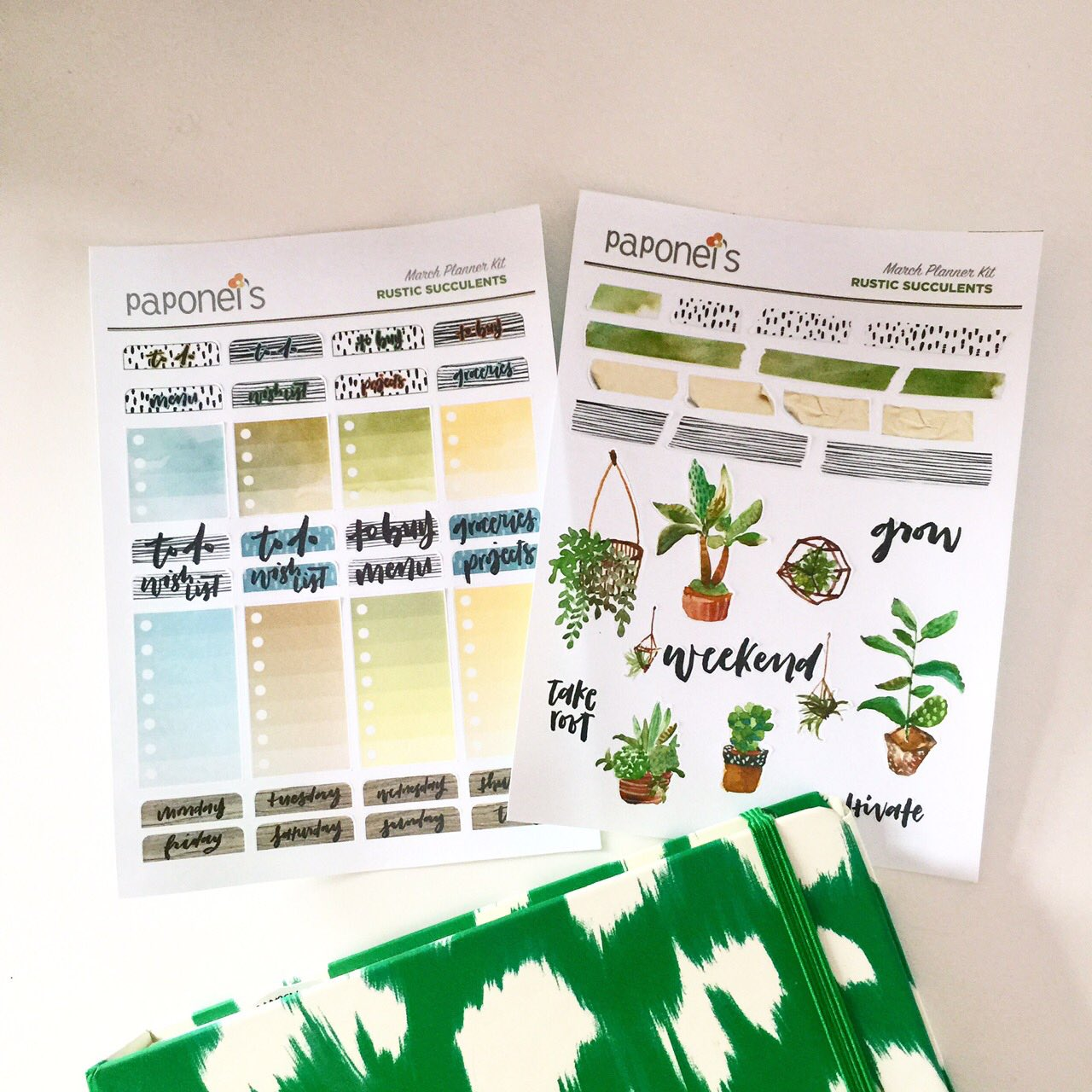 Rustic Succulents Planner Stickers