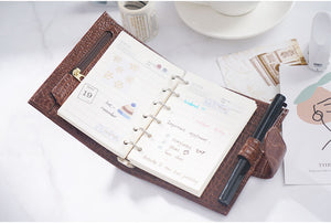 Moterm A7 Croc Red Brown Notebook Leather Planner