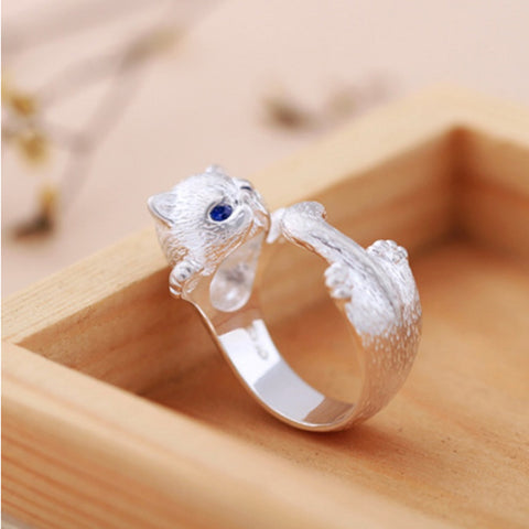 Silver Plated Cute Cat Ring