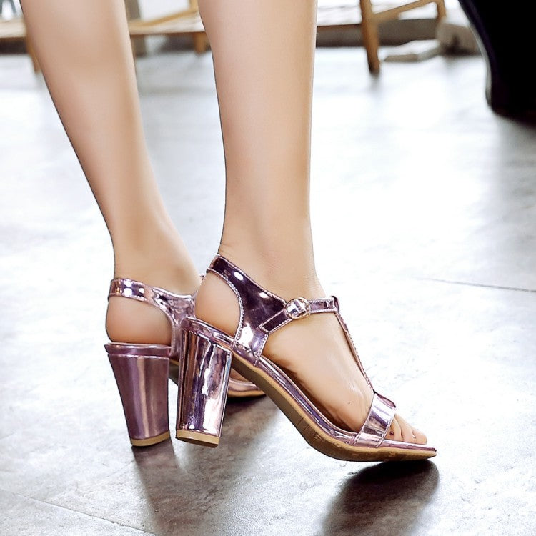 Summer Leather Square High Heels