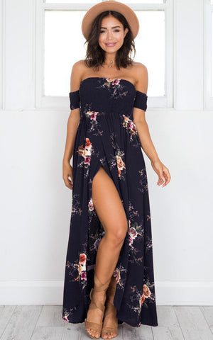 Image of Boho Off Shoulder Beach Summer Long Dress
