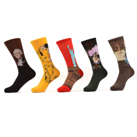 5 Pair/lot Combed Cotton Famous Painting Socks