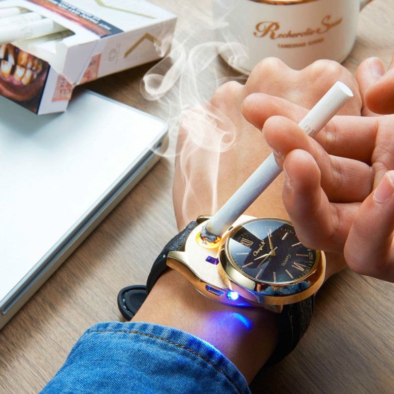Rechargeable Flameless Lighter Watch