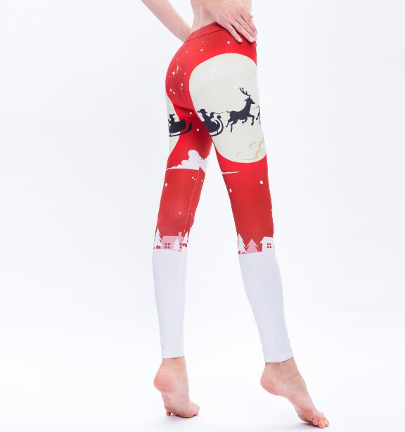 Christmas Snow Print Slim Leggings