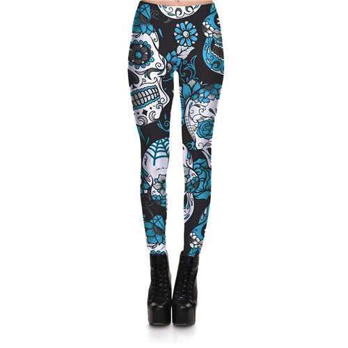 Women Skull & Flower Digital Print Leggings