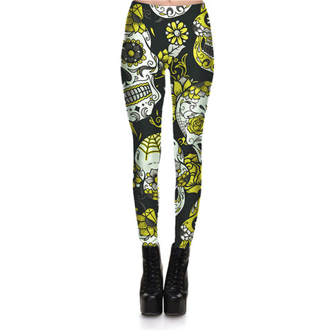 Image of Women Skull & Flower Digital Print Leggings