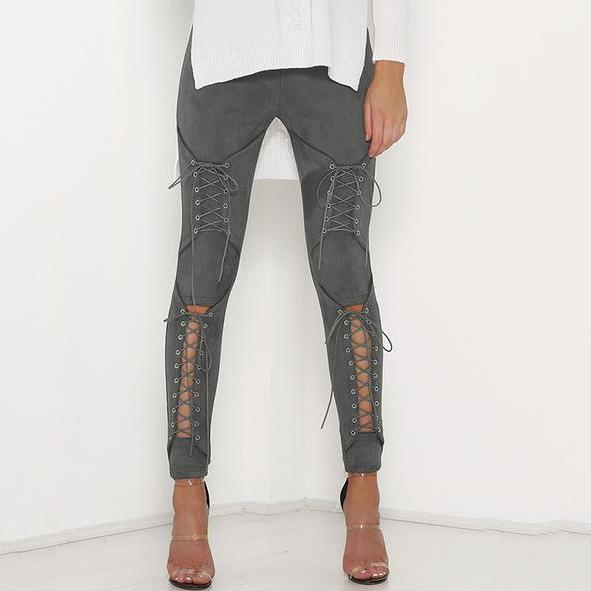 Suede Bodycon Bandage Pants