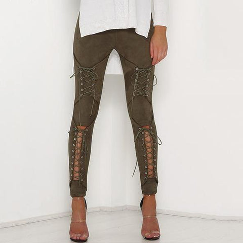 Image of Suede Bodycon Bandage Pants