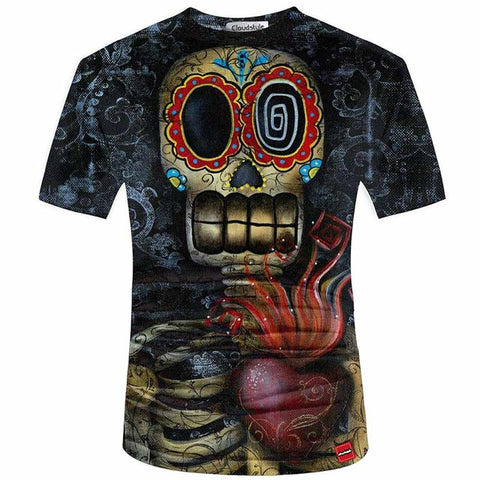 Image of 3D Skull Print Tees Men