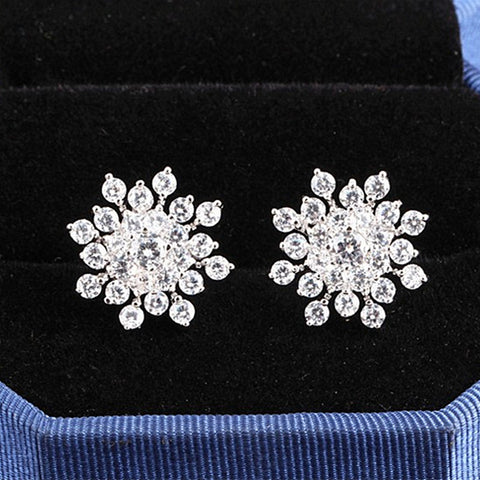 Image of Snowflake Stud Silver Earrings