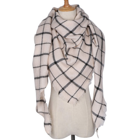 Image of Cashmere Plaid Winter Scarf