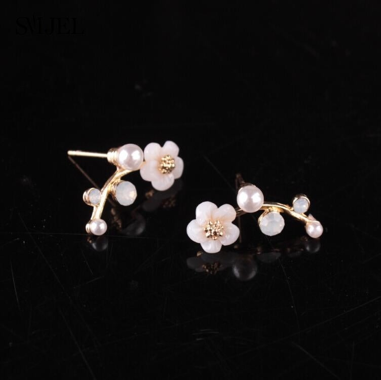 Crystal Branch Pearl Flower Stud Earrings