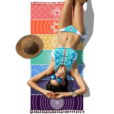 Image of Rainbow Chakra Travel Yoga Mat Tapestry