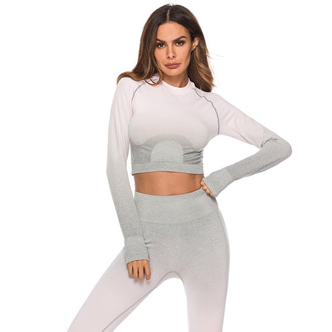 Image of Women Two Piece Fitness Sportswear Tracksuit