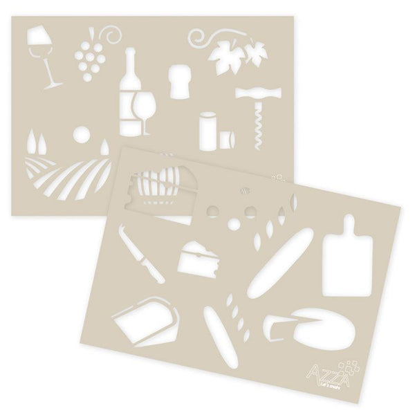 Decoration Stencil Duo: WINE AND CHEESE