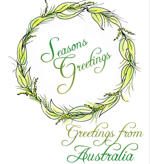 Christmas Wreath and Greetings Stamp