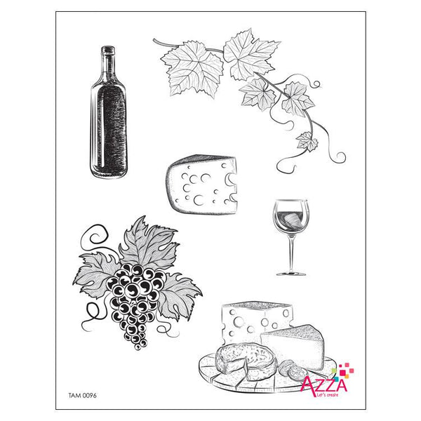 Stamp Set - Large:   WINE AND CHEESE