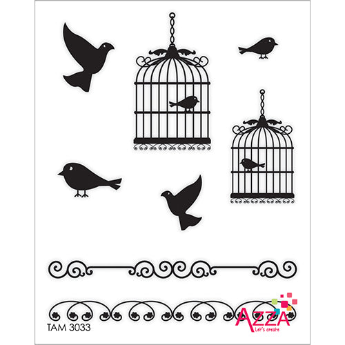 Stamp Set - Ruby:  BIRDS AND CAGES