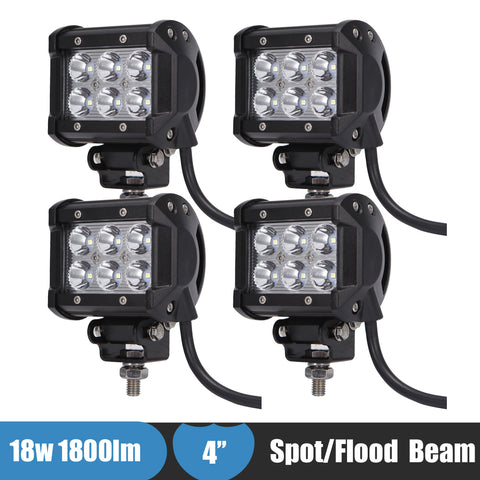 4/PC 18W Offroad LED Work Light 12v/24v - Murrayfishing
