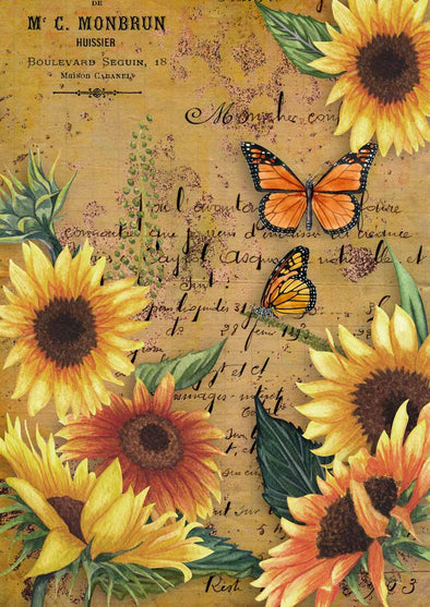 DECOUPAGE QUEEN DECOUPAGE PAPER - SUNFLOWERS AND MONARCH BUTTERFLY  05