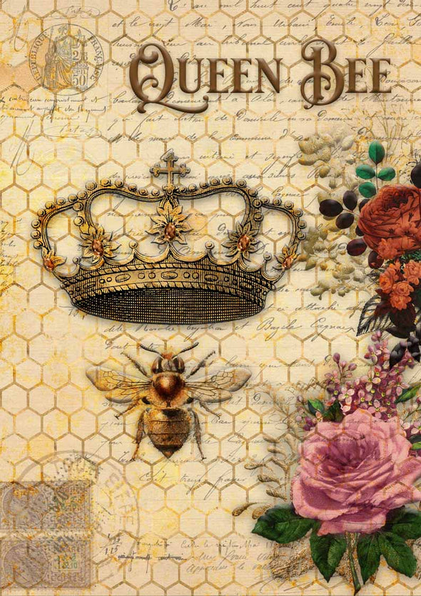 DECOUPAGE QUEEN DECOUPAGE PAPER - QUEEN BEE & ROSES 06