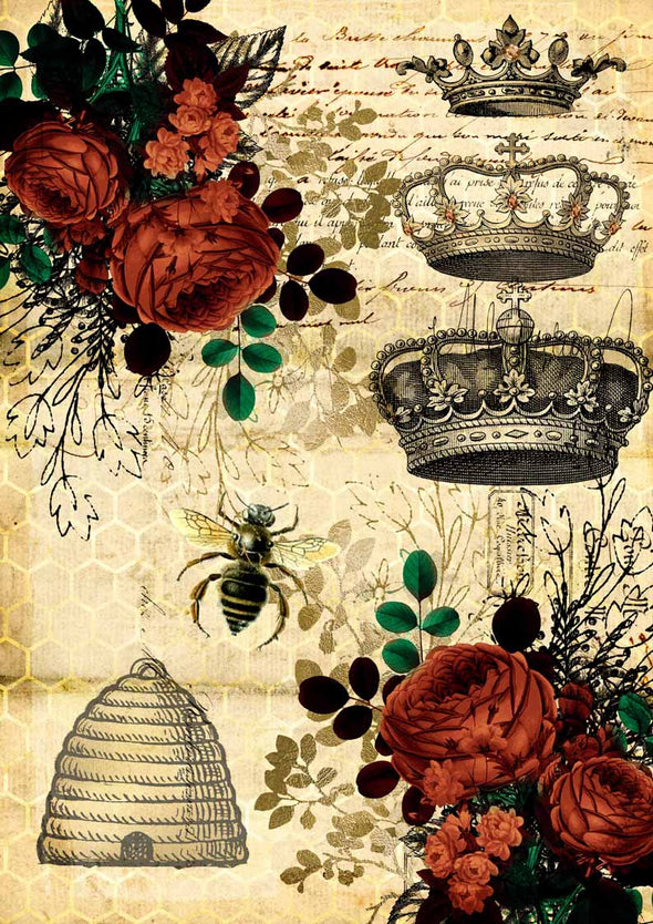 DECOUPAGE QUEEN DECOUPAGE PAPER - QUEEN BEE & RED ROSES 07