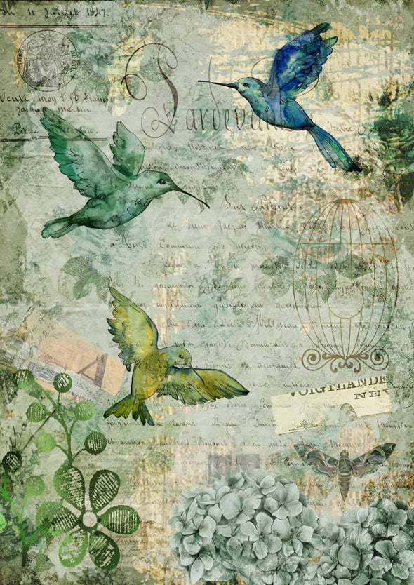 DECOUPAGE QUEEN DECOUPAGE PAPERS - AFTERNOON HUMMINGBIRDS 0120