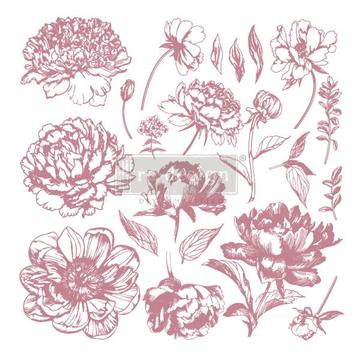 REDESIGN PRIMA CLEAR ALIGNED DÉCOR STAMPS - LINEAR FLORAL