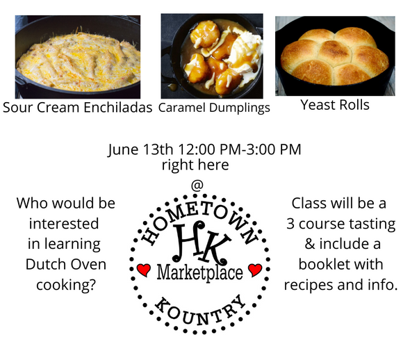 2020 June 13th Dutch Oven Cooking Class $57.00