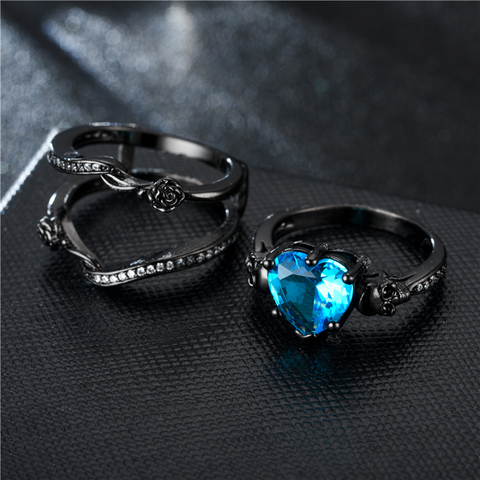 7751226fd53374 Black Rose Heart Skull Ring Set For Women – BiKaZo