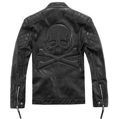 Faux Leather Skull Windbreaker Jacket For Men-FREE Shipping