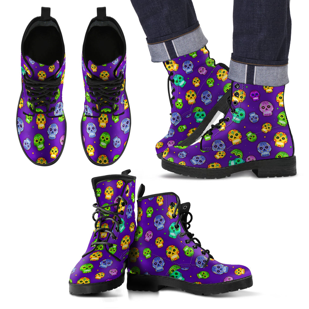Muerto Sugar Skulls Vegan Leather Boots Men's