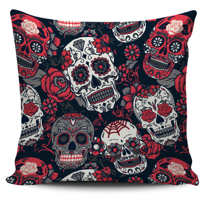 Red & White Skull Pillow Cover