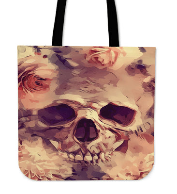 Flower Skull Tote Bag