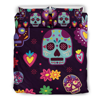 Muerte Skulls and Flowers Bedding Set
