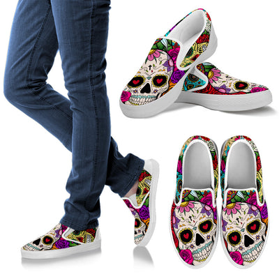 Sugar Skull Women's Slip Ons (White)