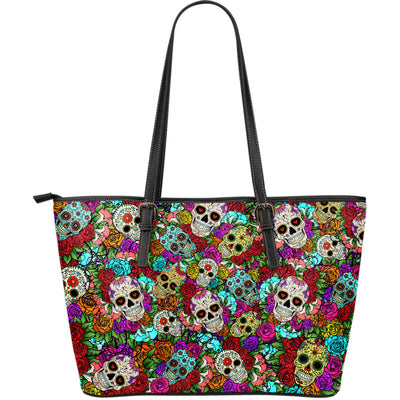 Sugar Skull Leather Tote Bag