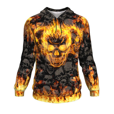 Burning Skull All Over Hoodie