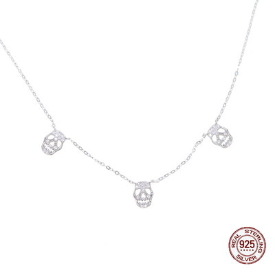 Sterling Silver Multi Skull Necklace For Women