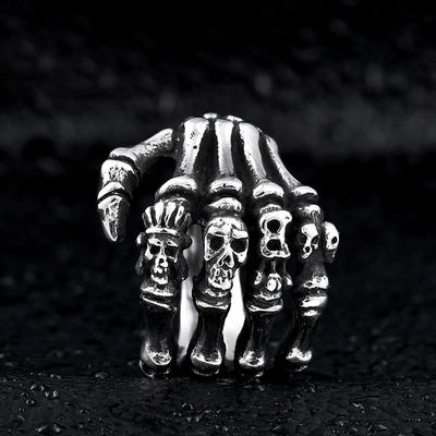 Power Finger Skull Ring For Men
