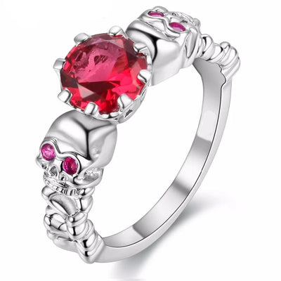 Cubic Zirconia Skull Ring For Women